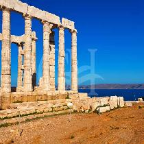 Cape Sounion in the afternoon-Temple of Poseidon stand